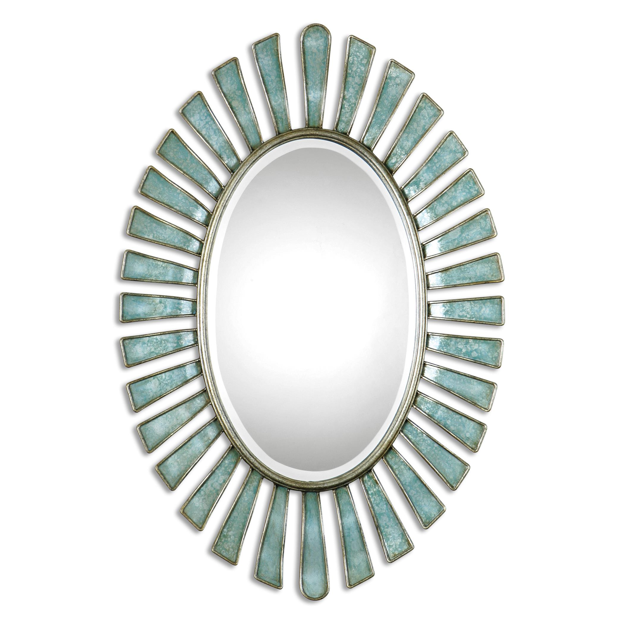 Uttermost Mirrors Morvoren Blue-Gray Oval Mirror - Item Number: 08141