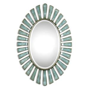 Uttermost Mirrors Morvoren Blue-Gray Oval Mirror