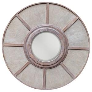 Calan Wooden Round Mirror