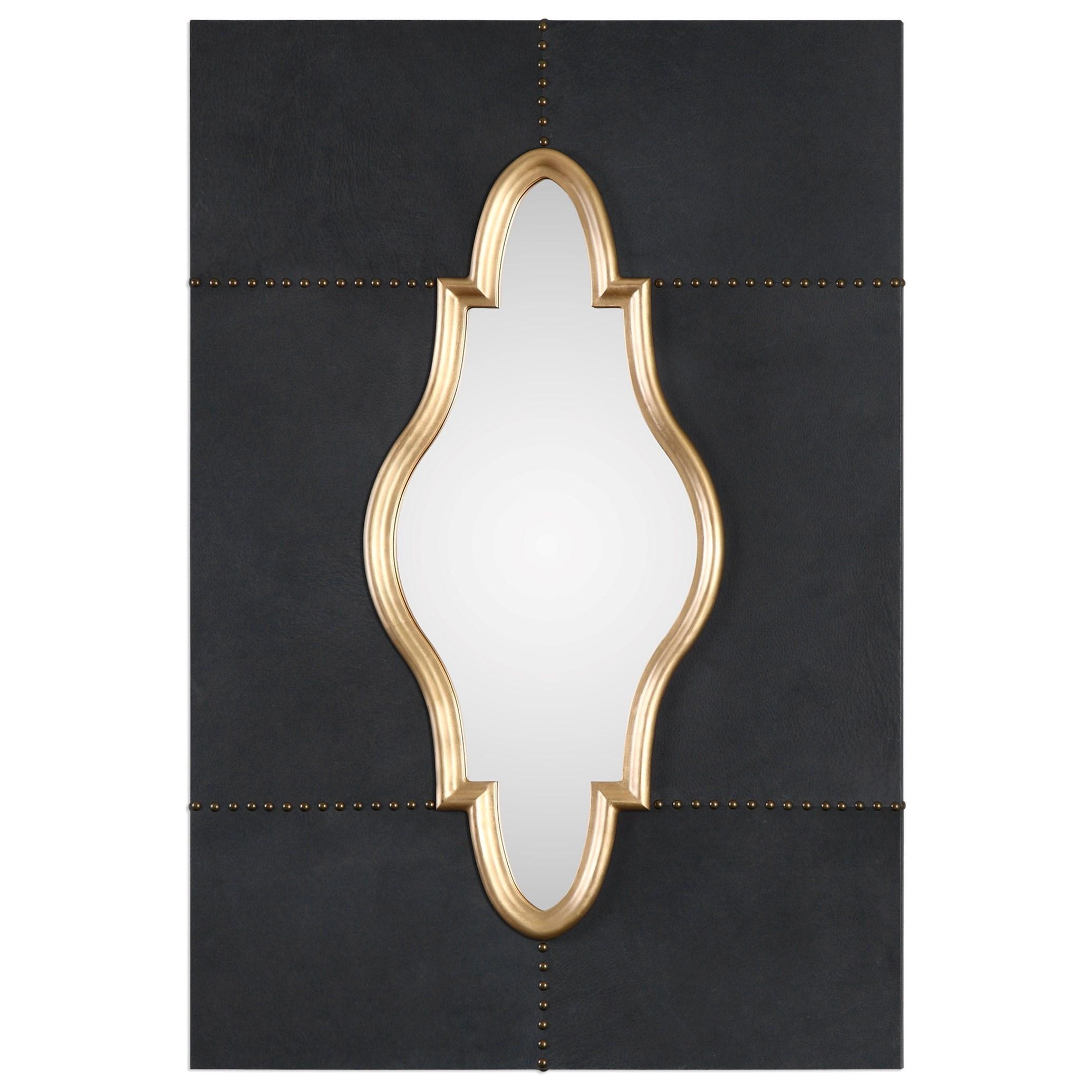 Uttermost Mirrors Kamal Black Leather Mirror - Item Number: 09051