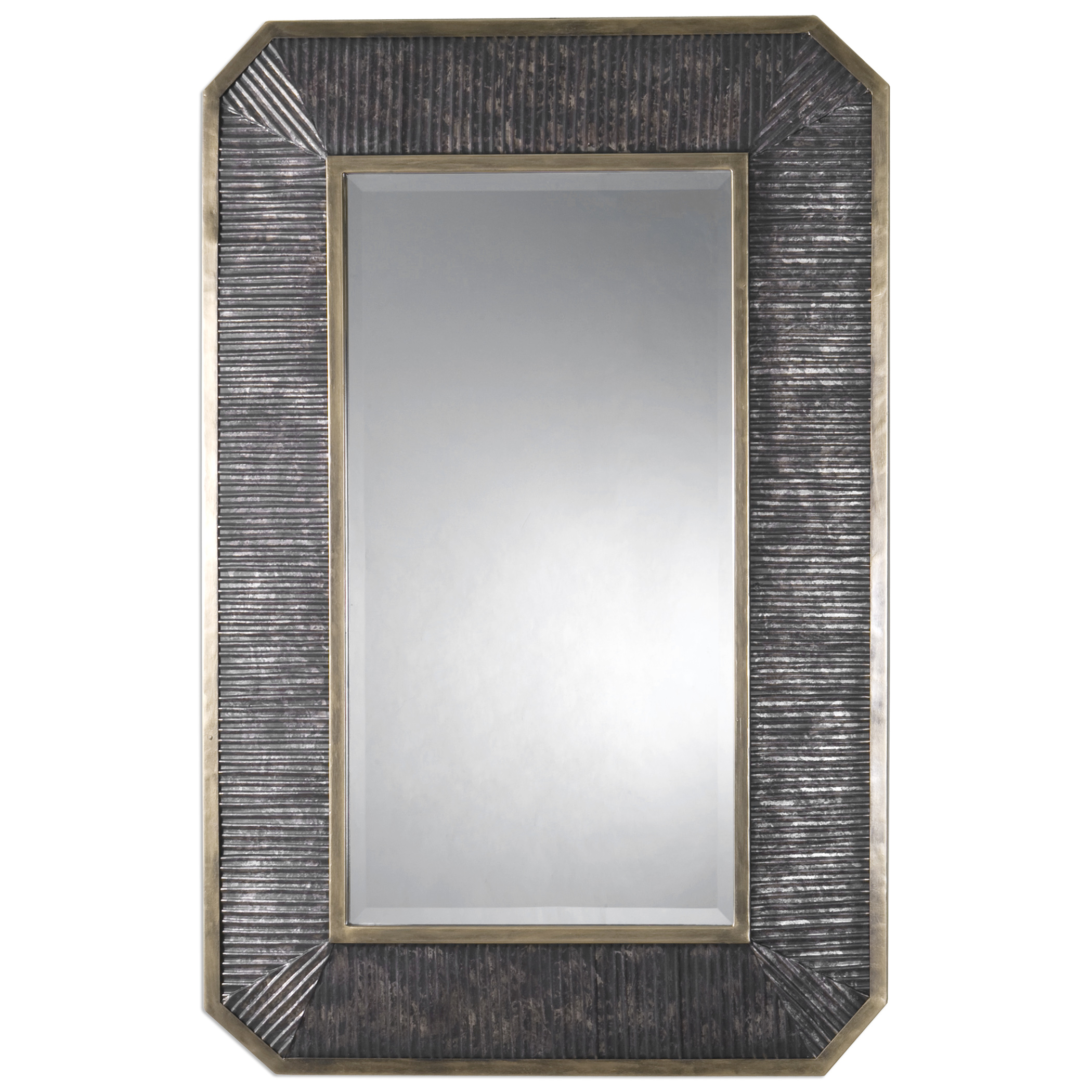 Uttermost Mirrors Isaiah Ribbed Bronze Mirror - Item Number: 09087