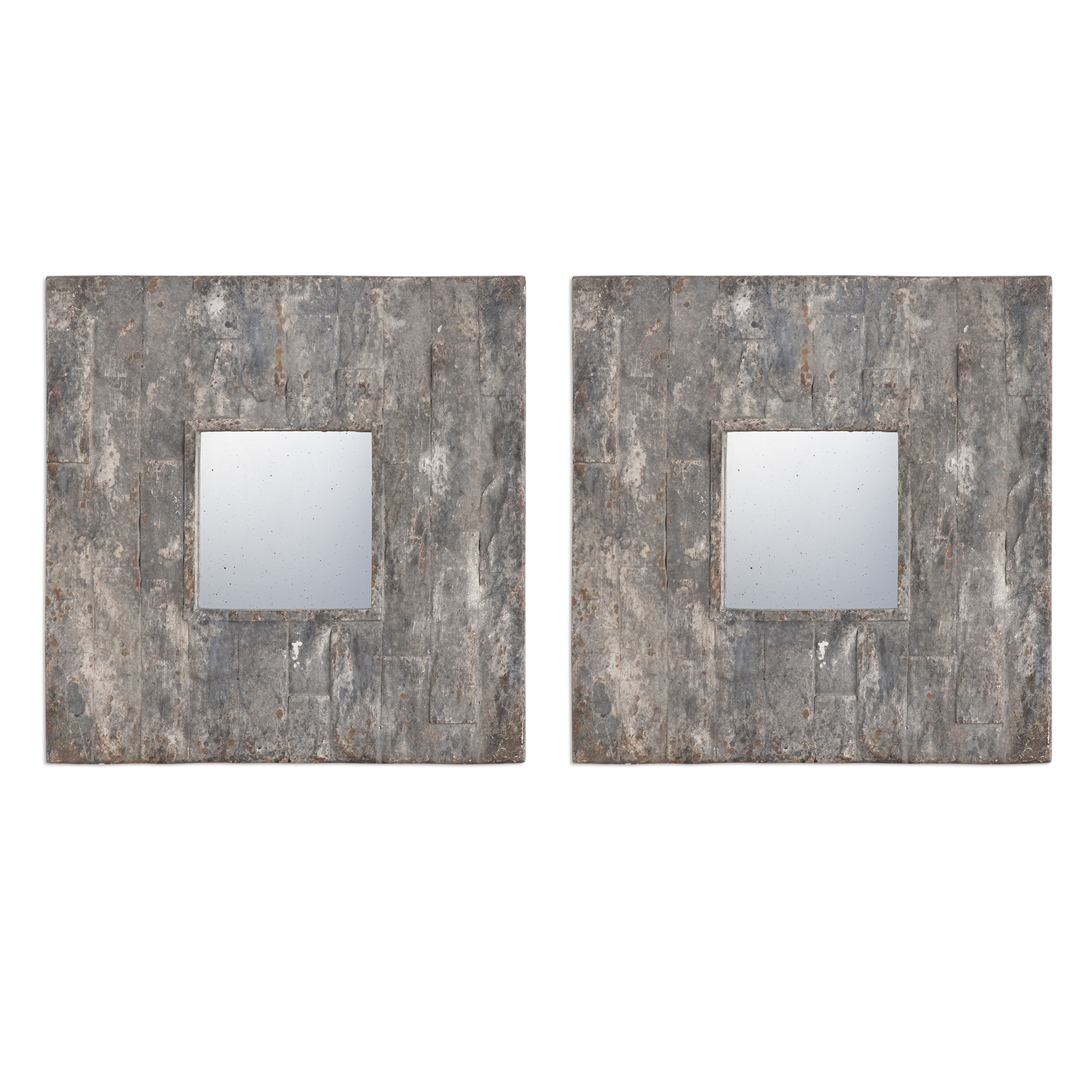 Uttermost Mirrors Piera Square Aged Stone Mirrors, S/2 - Item Number: 09088