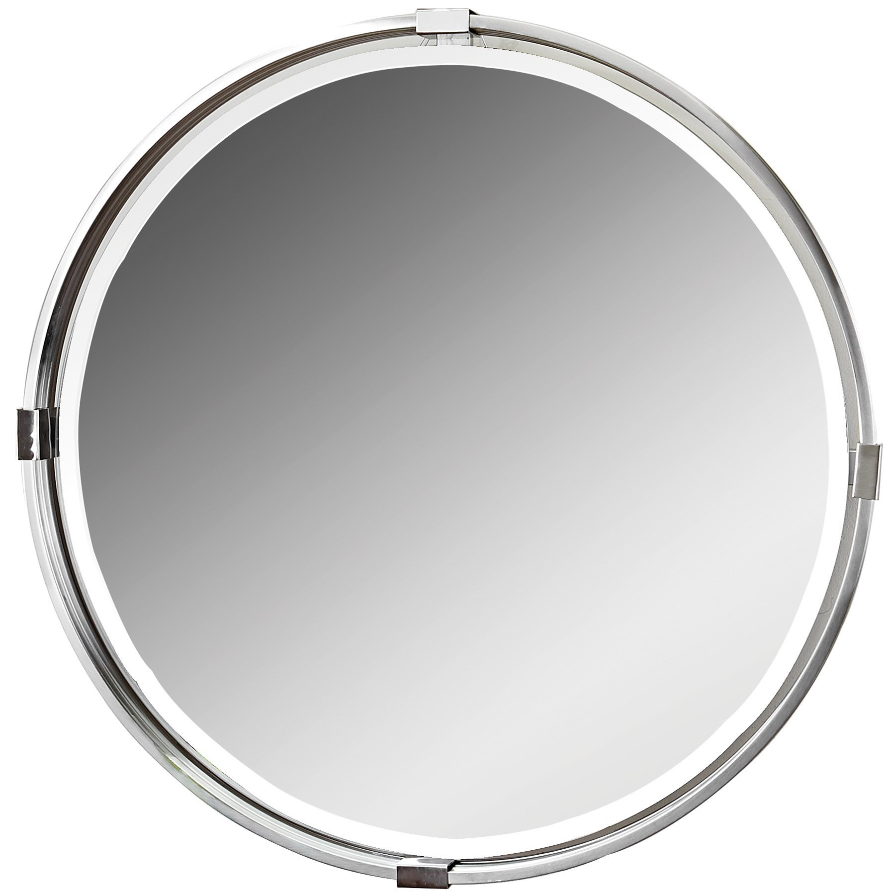Uttermost Mirrors Tazlina Brushed Nickel Round Mirror - Item Number: 09109