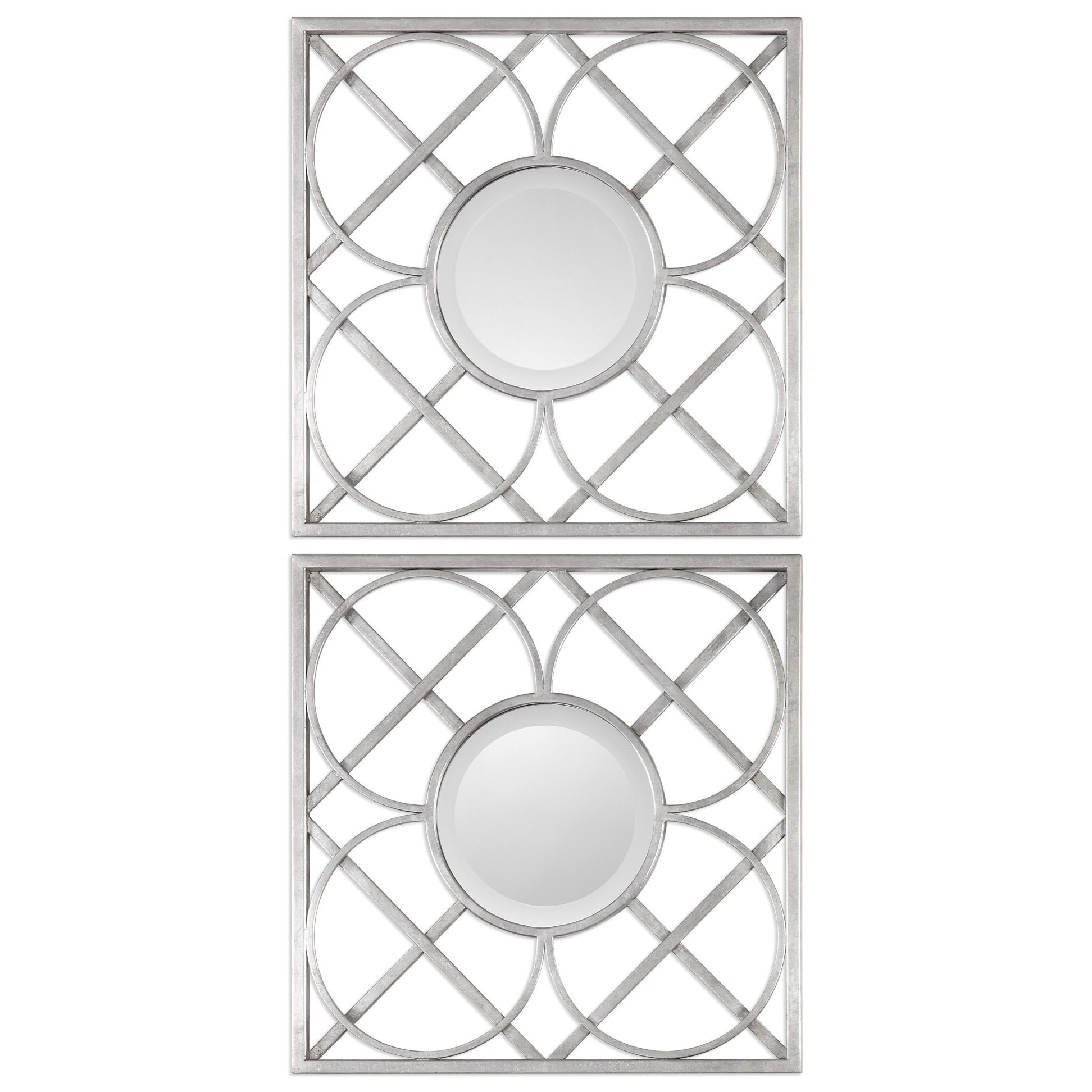 Uttermost Mirrors  Yasmina Silver Square Mirrors (Set of 2) - Item Number: 09177