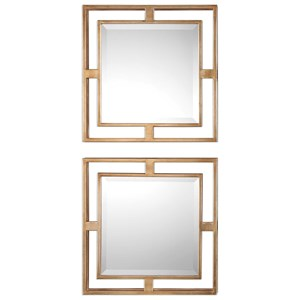 Uttermost Mirrors Allick Gold Square Mirrors (Set of 2)