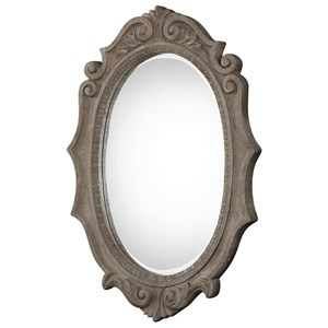 Uttermost Mirrors Serafina Aged Scroll Oval Mirror