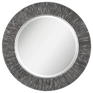 Wenton Round Aged Wood Mirror