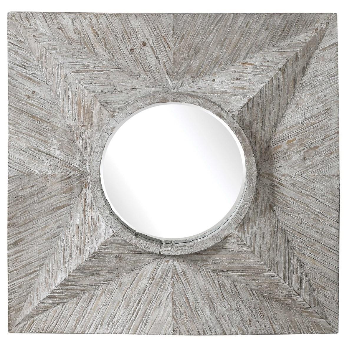 Huntington Light Gray Square Mirror