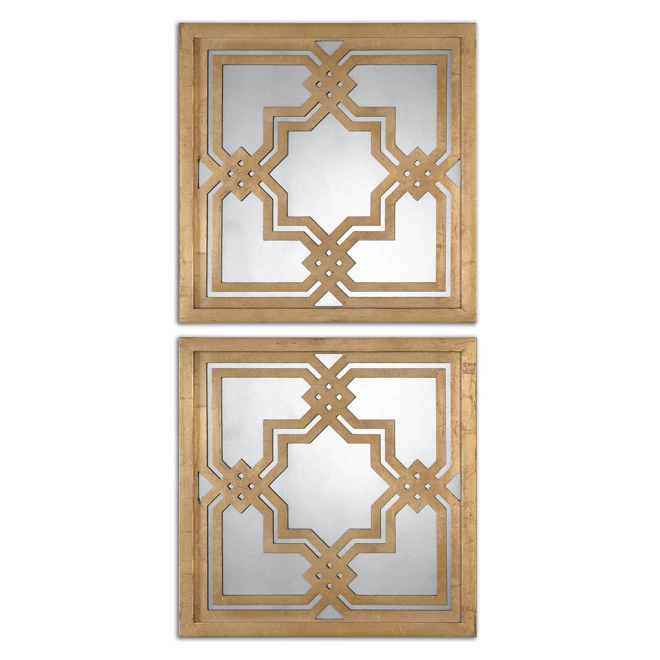 Uttermost Mirrors Piazzale Gold Square Mirrors Set of 2 - Item Number: 13865