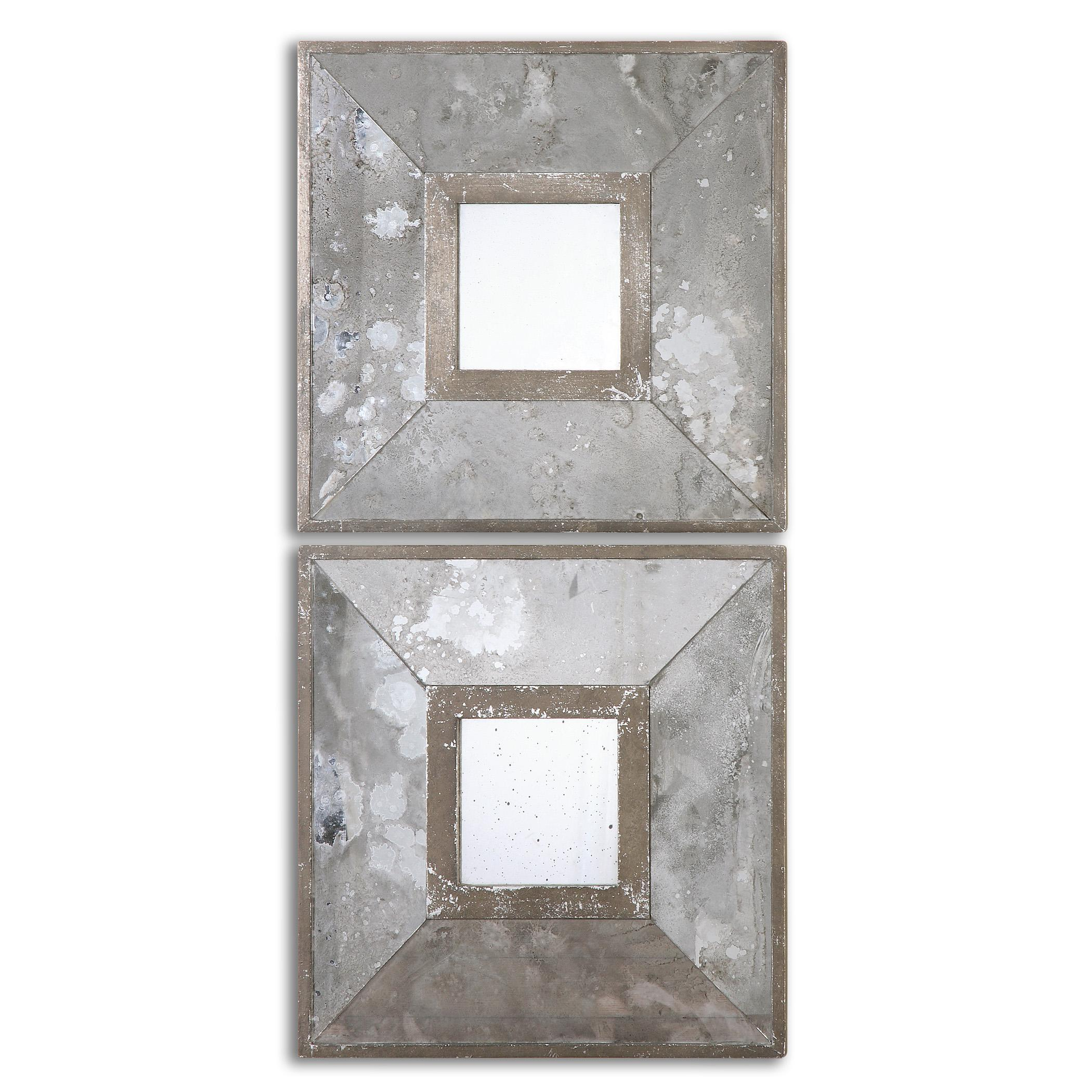 Uttermost Mirrors Gisila Squares Antiqued Mirrors Set of 2 - Item Number: 13886