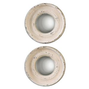 Uttermost Mirrors Busalla Ivory Round Mirrors, Small S/2