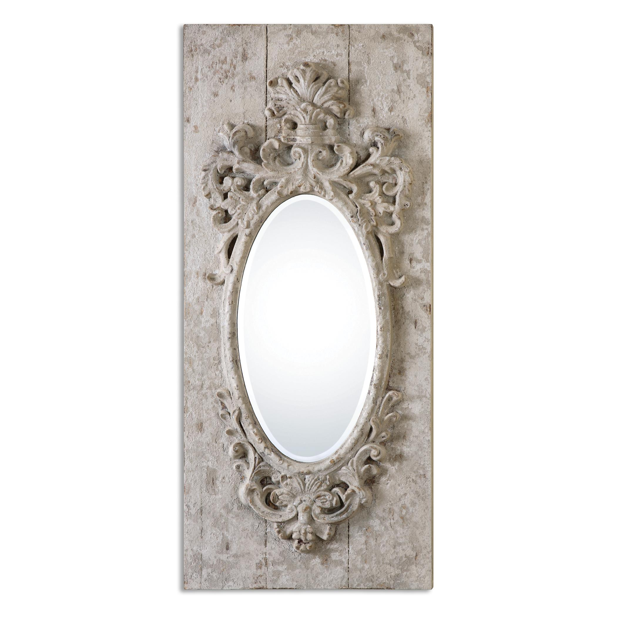 Uttermost Mirrors Guardia Gray-Ivory Oval Mirror - Item Number: 13927