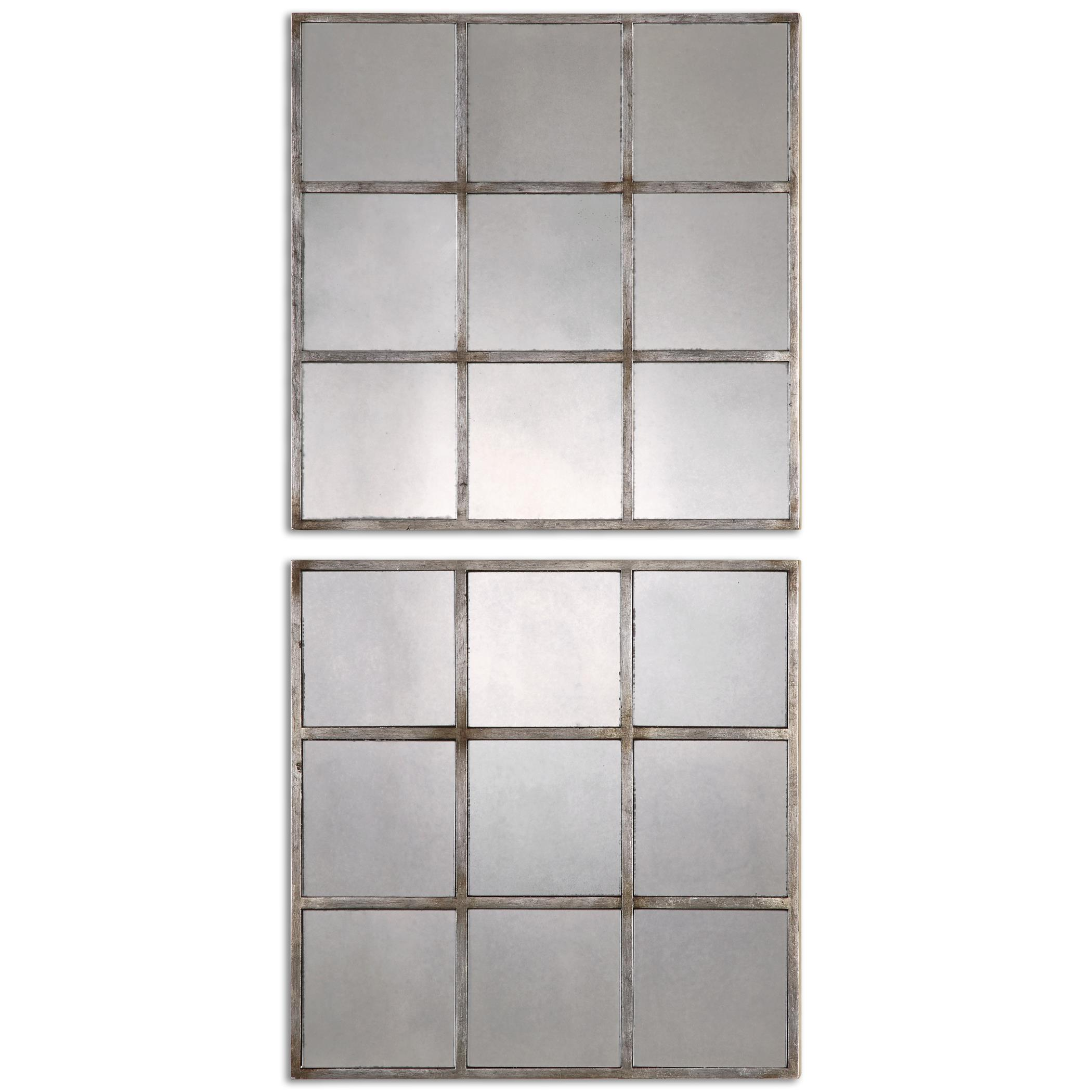 Uttermost Mirrors Derowen Squares Antique Mirrors S/2 - Item Number: 13935
