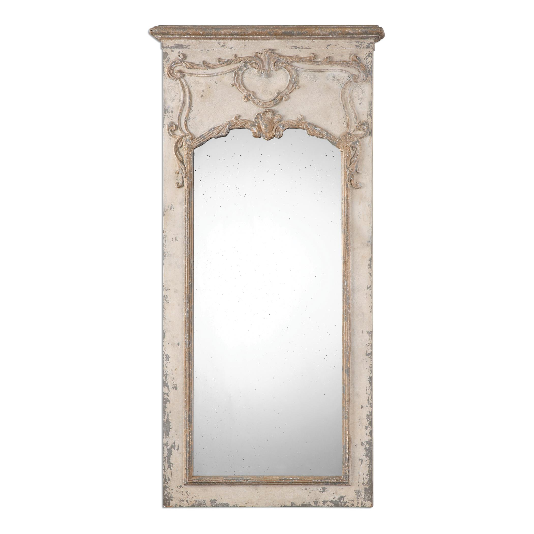 Uttermost Mirrors Carlazzo Antiqued White Mirror - Item Number: 13988
