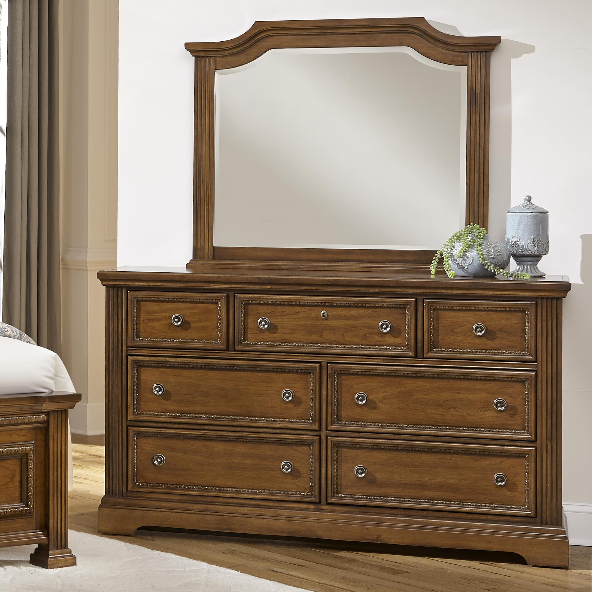 Vaughan Bassett Affinity Dresser & Arch Mirror - Item Number: 562-002+447