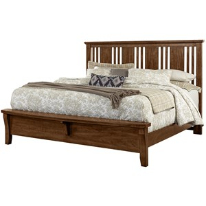 Vaughan Bassett American Cherry King Craftsman Bed w/ Bench Footboard