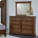 Vaughan Bassett American Cherry Bureau & Landscape Mirror - Item Number: 417-004+447