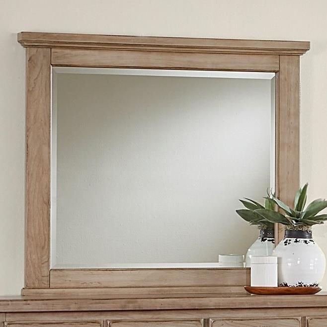 Vaughan Bassett American Cherry Landscape Mirror - Beveled Glass - Item Number: 418-447