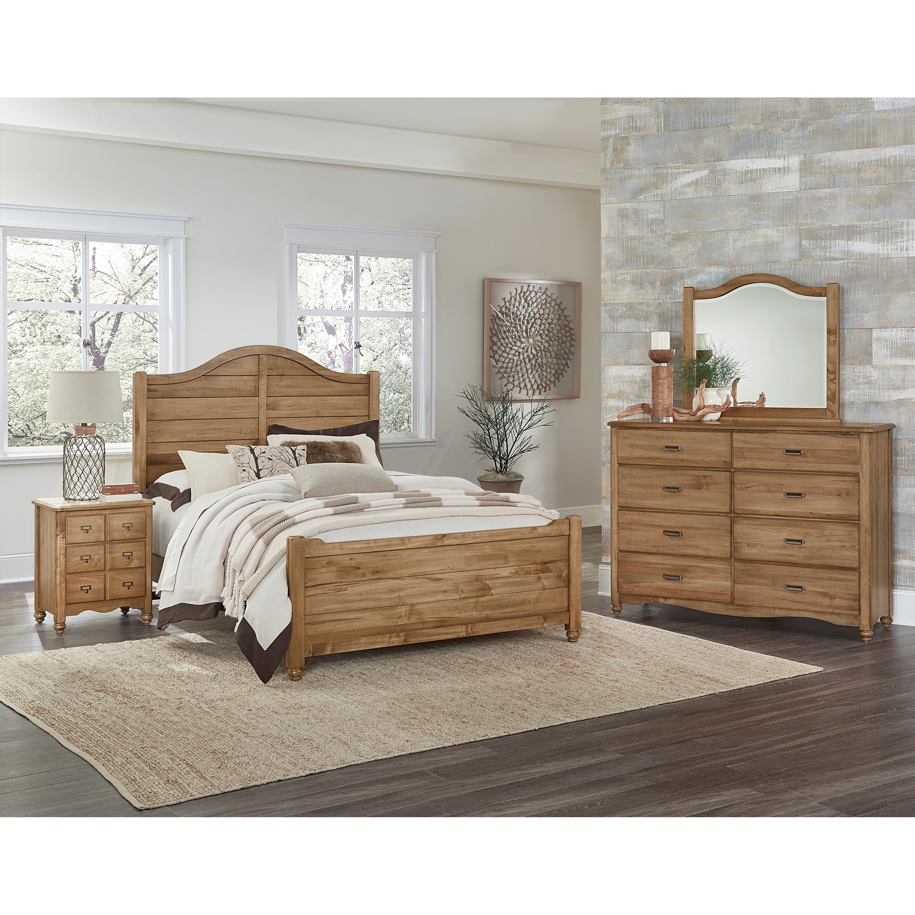 Vaughan bassett american maple solid wood full shiplap bed