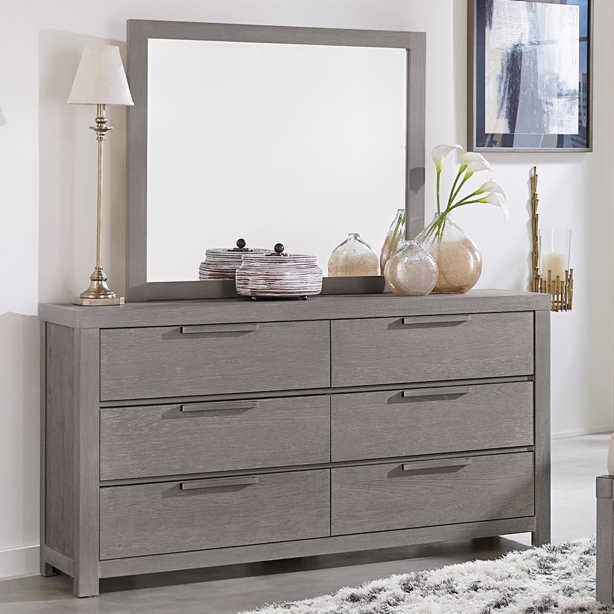 Vaughan Bassett American Modern Dresser & Landscape Mirror - Item Number: 651-002+446