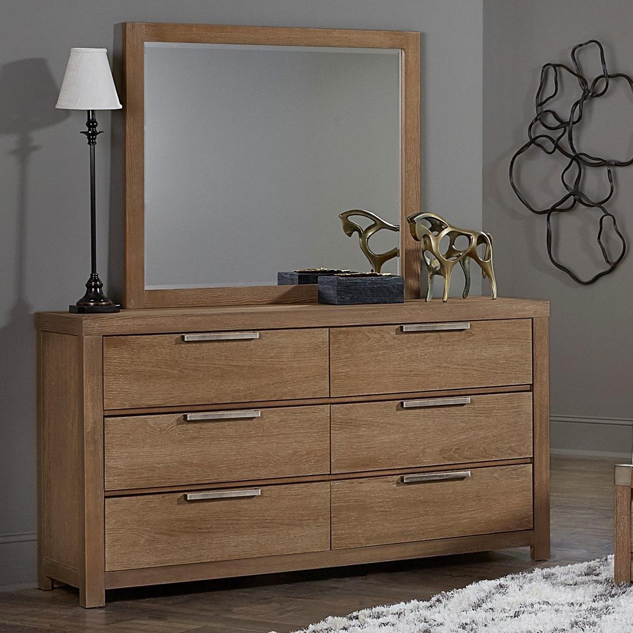 Vaughan Bassett American Modern Dresser & Landscape Mirror - Item Number: 652-002+446