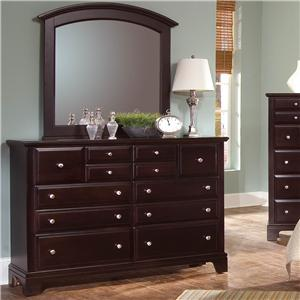 Vaughan Bassett Hamilton 7 Drawer Dresser with Landscape Mirror