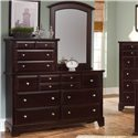 Vaughan Bassett Hamilton/Franklin Vanity Dresser with 10 Drawers - Vanity Dresser Shown with Mirror