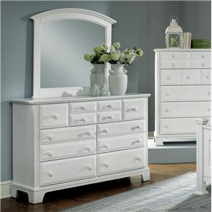 Vaughan Bassett Hamilton Franklin 7 Drawer Dresser with Landscape Mirror