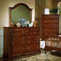 Vaughan Bassett Cottage Triple Dresser - Shown with BB19-446 Landscape Dresser Mirror and BB19-115 Chest of Drawers