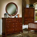Vaughan Bassett Cottage Triple Dresser - Shown with BB19-447 Round Wall Mirror and BB19-117 Armoire / Entertainment Center