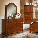 Vaughan Bassett Cottage Mirror / Vertical Dresser Mirror - Shown with BB19-001 Double Dresser and BB19-116 Vanity Chest / Entertainment Center