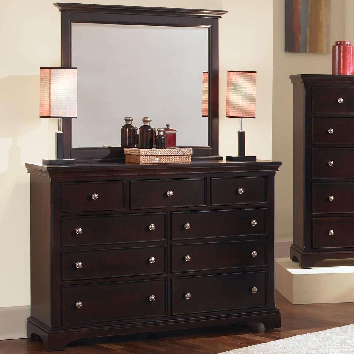 Vaughan Bassett Forsyth 7 Drawer Dresser and Mirror - Item Number: BB76-002+446