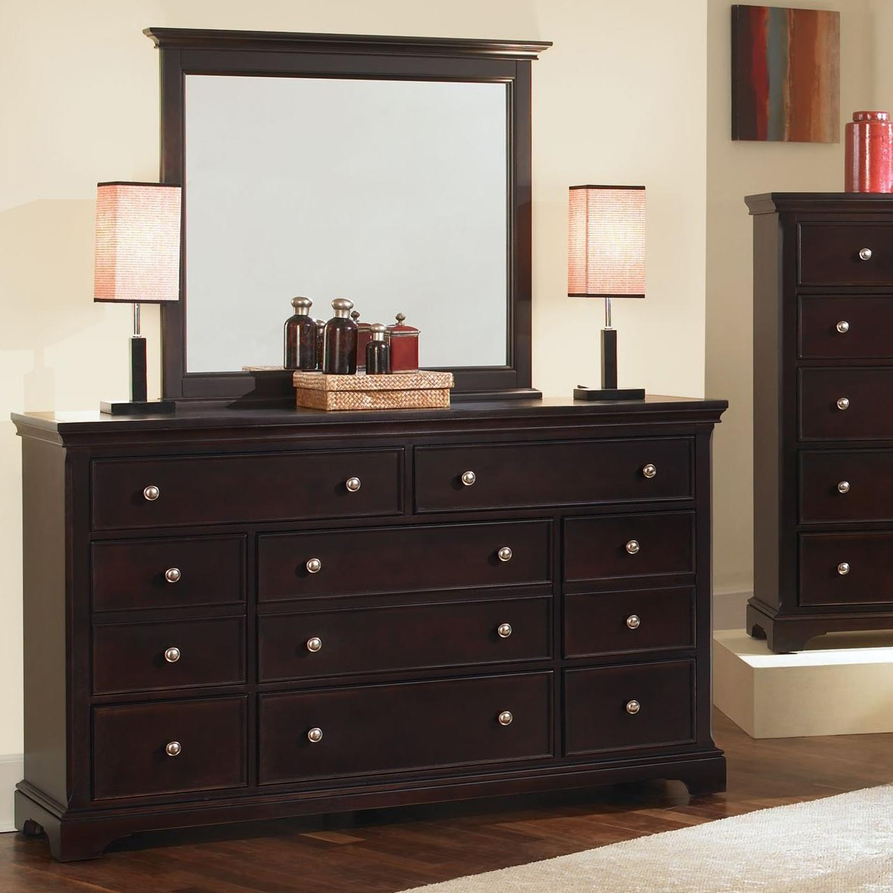 Vaughan Bassett Forsyth 8 Drawer Dresser and Mirror - Item Number: BB76-003+446
