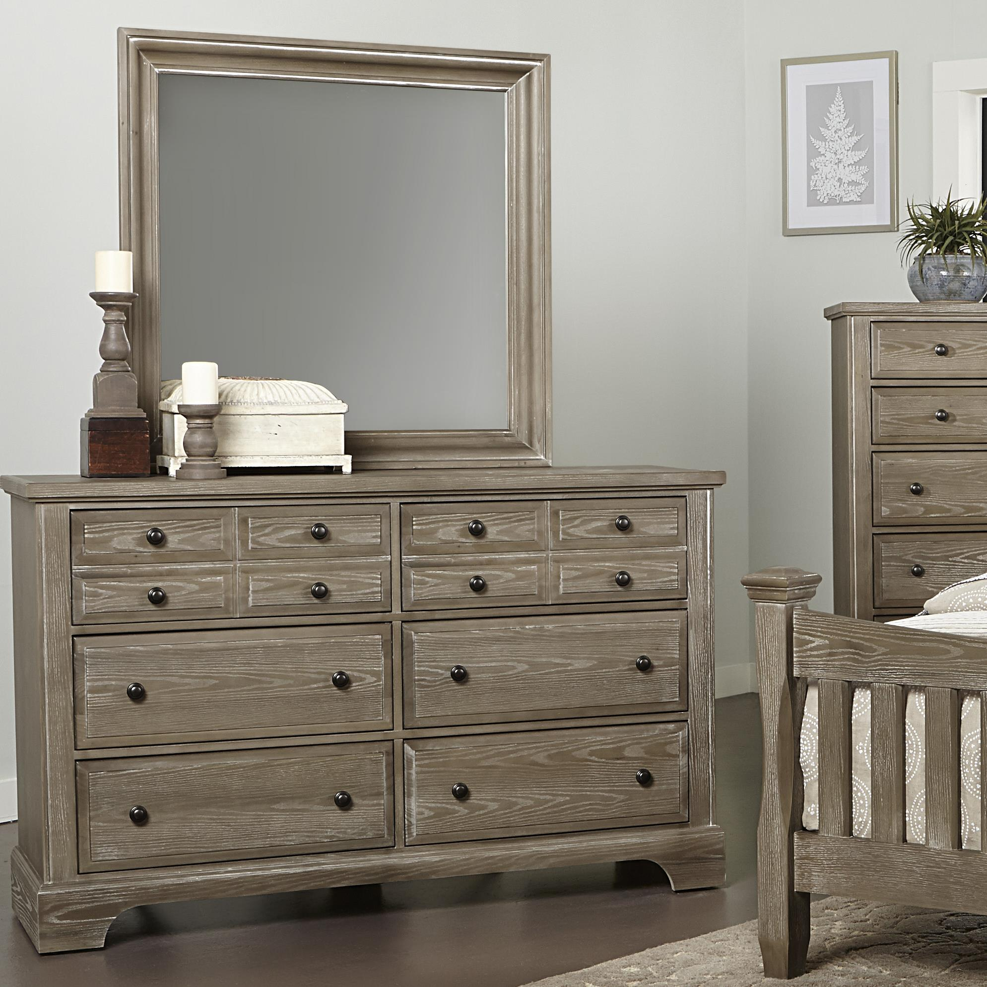 Vaughan Bassett Bedford Dresser - 6 drawers & Landscape Mirror - Item Number: BB81-002+445