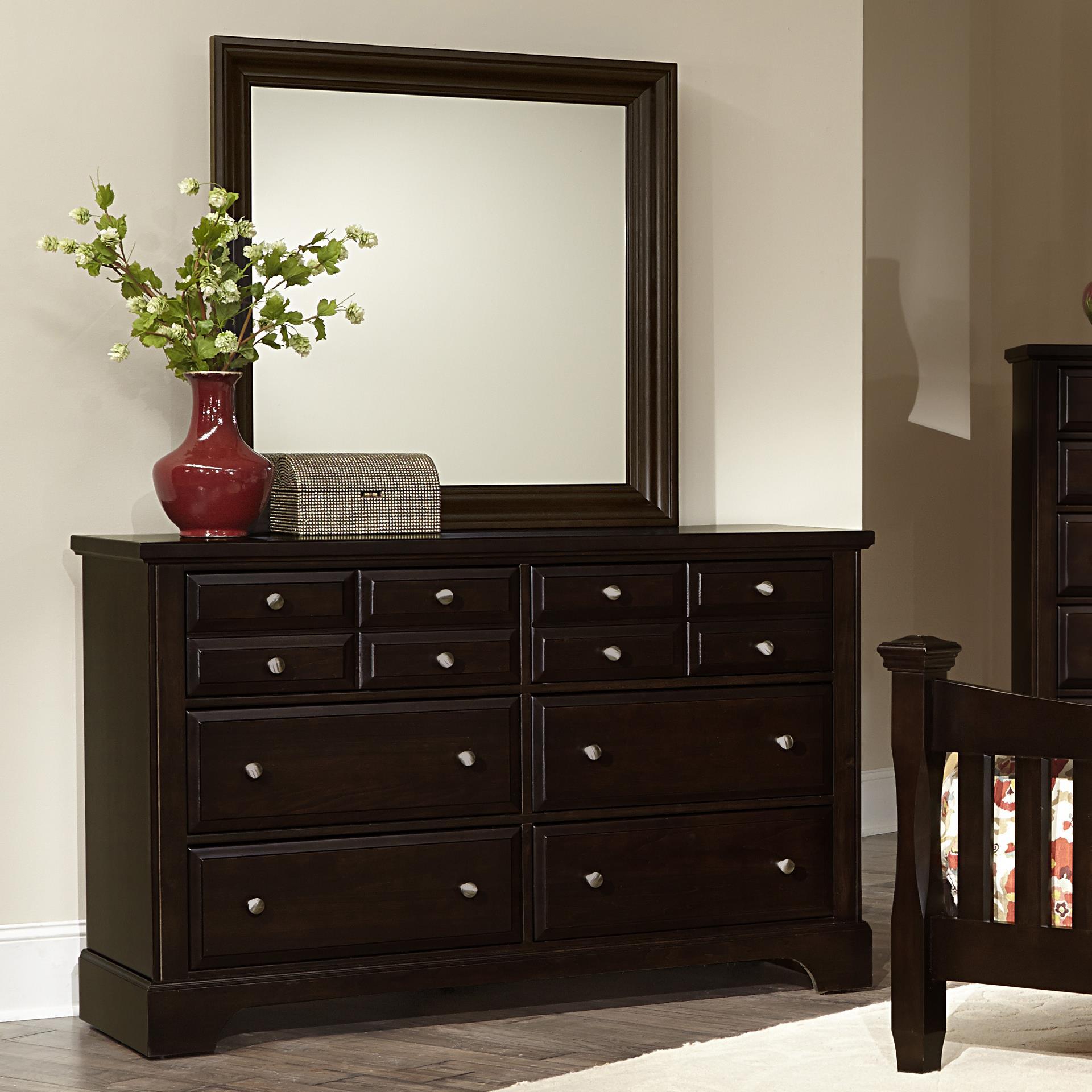 Vaughan Bassett Bedford Dresser - 6 drawers & Landscape Mirror - Item Number: BB88-002+445