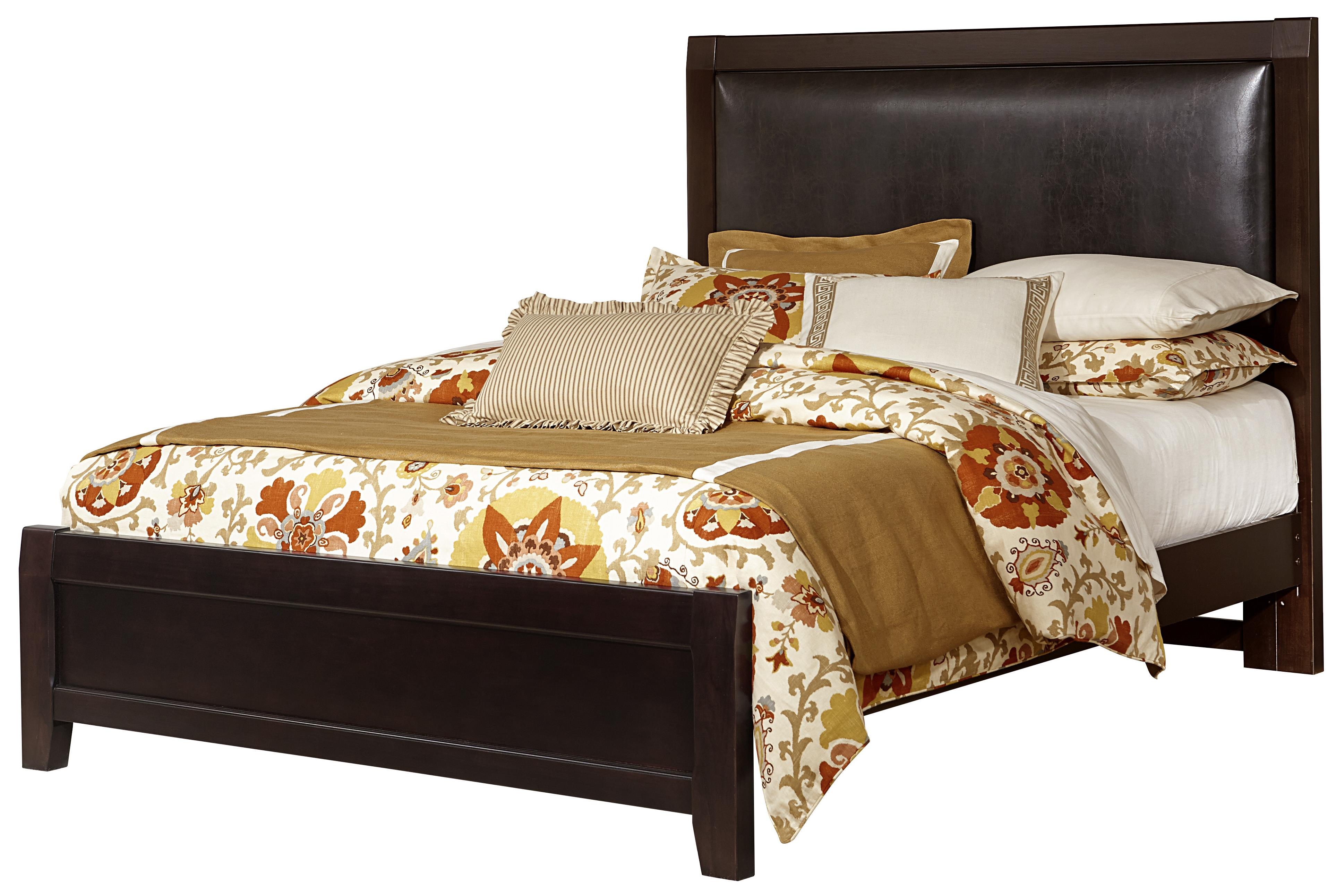 Vaughan Bassett Bedford Queen Bed w/ Bonded Leather Uph. Headboard - Item Number: BB88-551+155+922