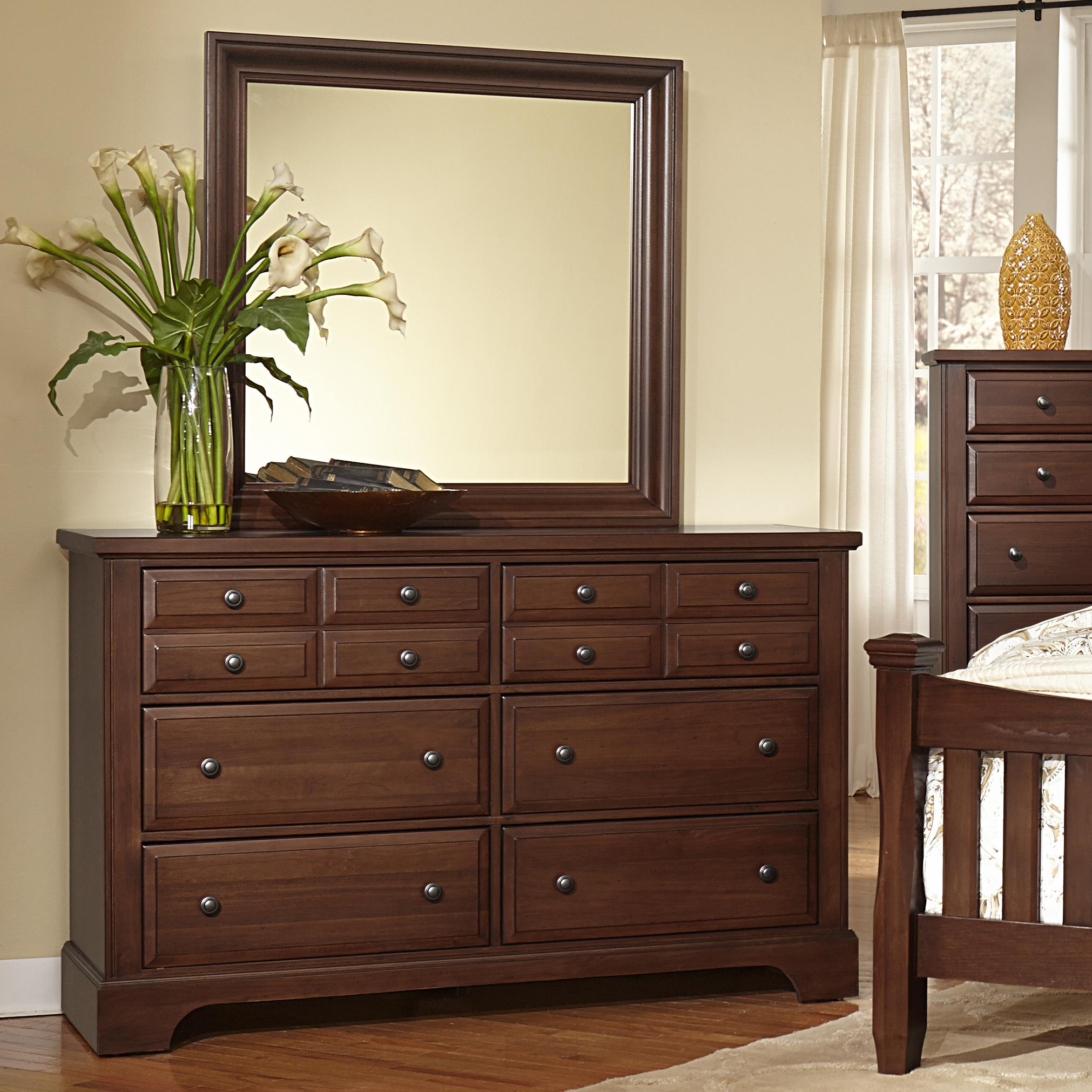 Vaughan Bassett Bedford Dresser - 6 drawers & Landscape Mirror - Item Number: BB89-002+445