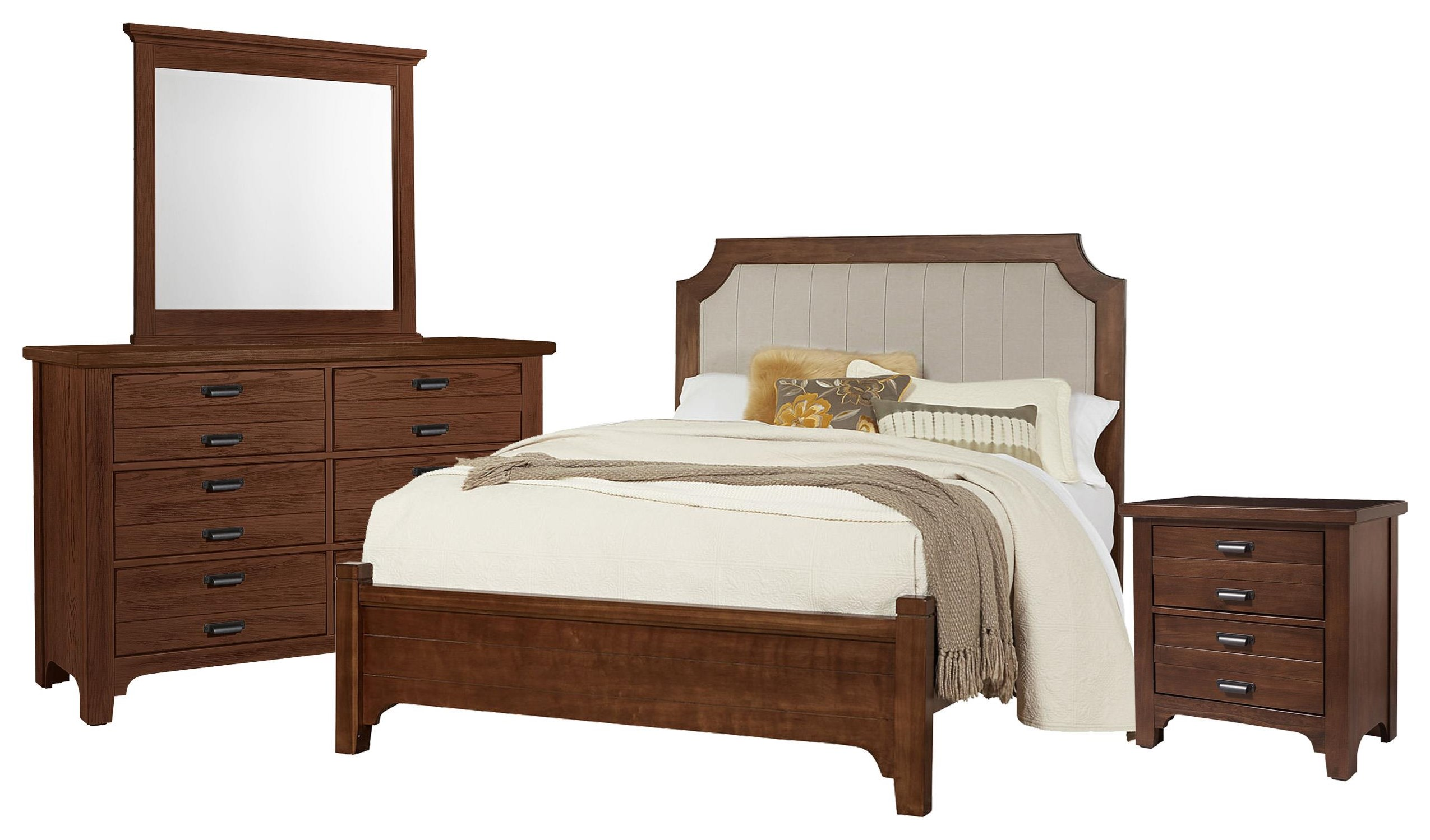 Bungalo Home King Bed, Dresser, Mirror, Night by Vaughan Bassett at Johnny Janosik
