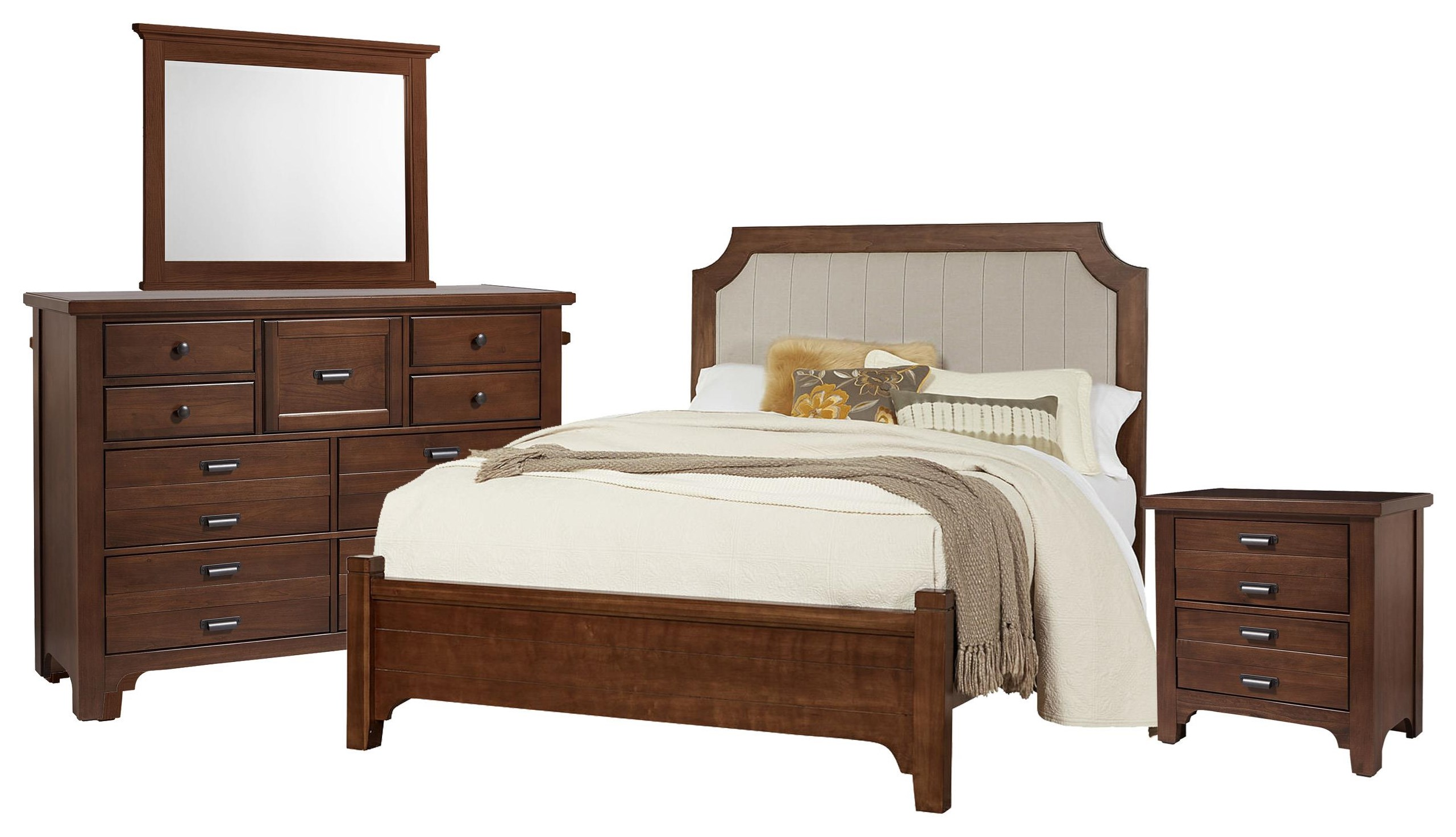 Bungalo Home King Upholstered  Bed, Dresser, Mirror, Nigh by Vaughan Bassett at Johnny Janosik