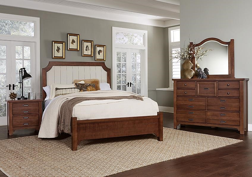 Bungalo Home Queen Bed, Dresser, Mirror, Nigh by Vaughan Bassett at Johnny Janosik