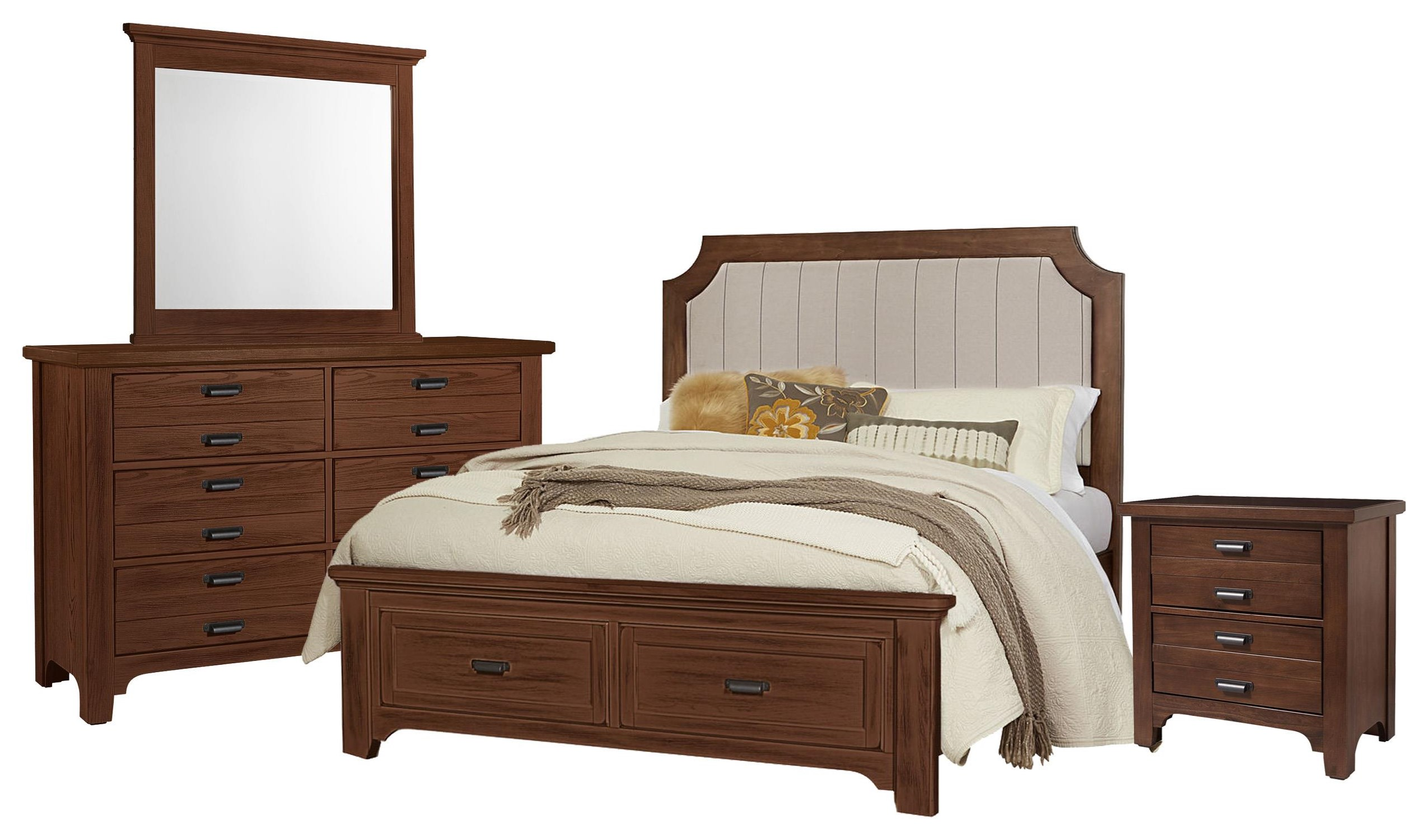 Queen Bed, Dresser, Mirror, Nightstand