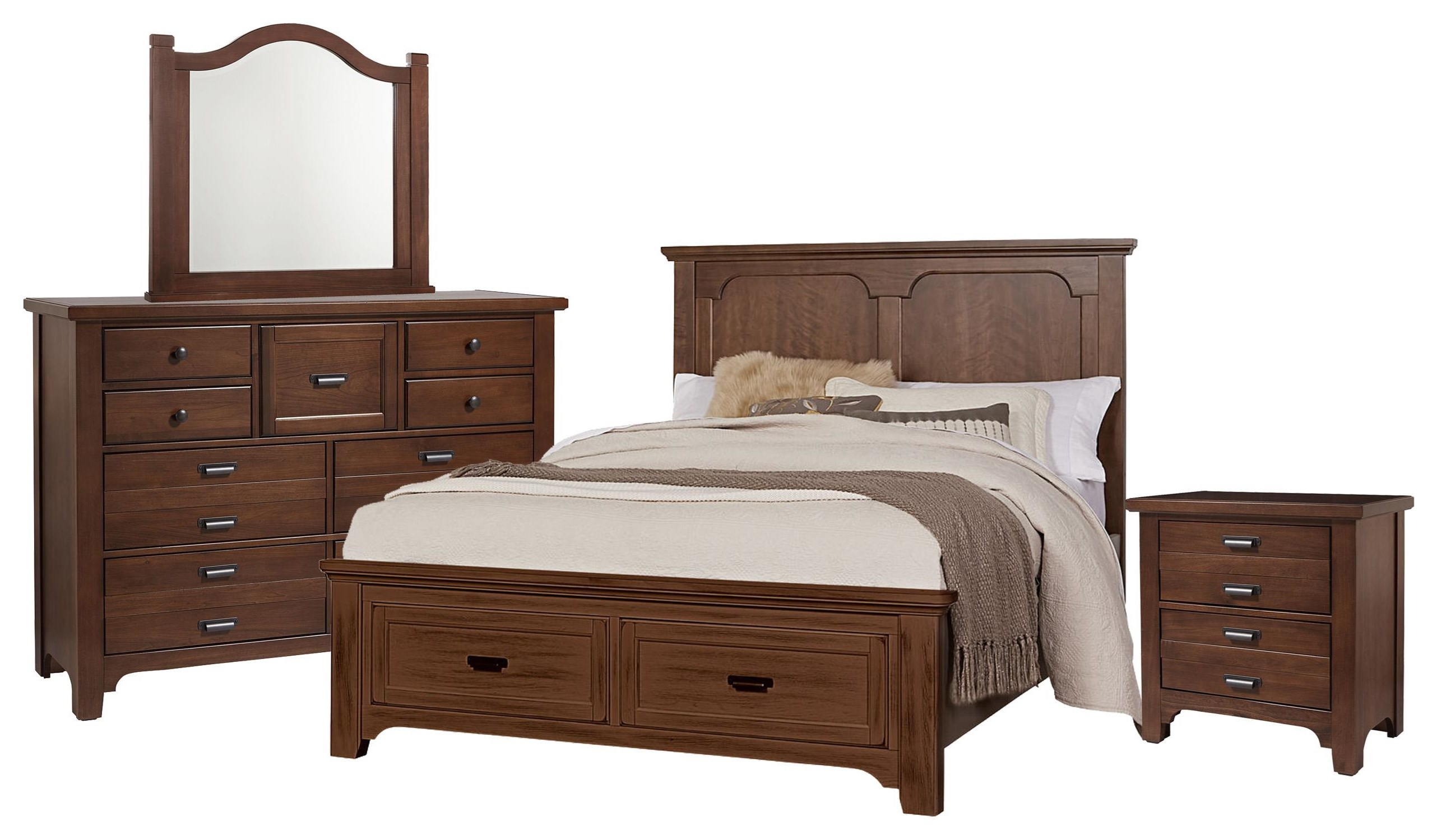 Bungalo Home King Panel Bed, Dresser, Mirror, Nig by Vaughan Bassett at Johnny Janosik