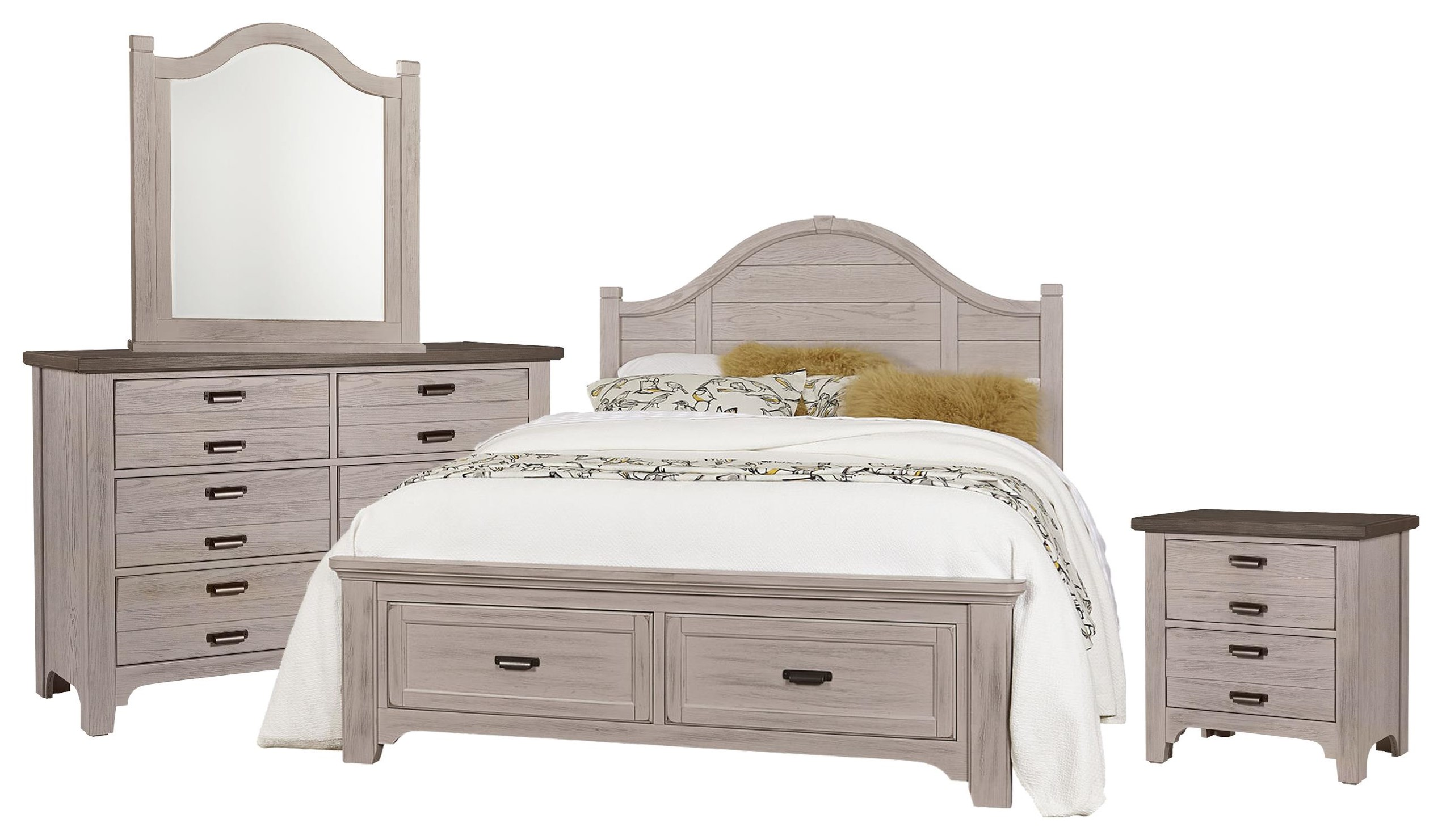 Bungalo Home Queen Arch, Dresser, Mirror, Nightst by Vaughan Bassett at Johnny Janosik