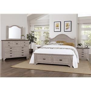 King Storage Bed, Dresser, Mirror, Nighstand