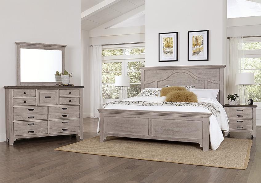 Bungalo Home Queen Mantel Bed, Dresser, Mirror, Nightstan by Vaughan Bassett at Johnny Janosik