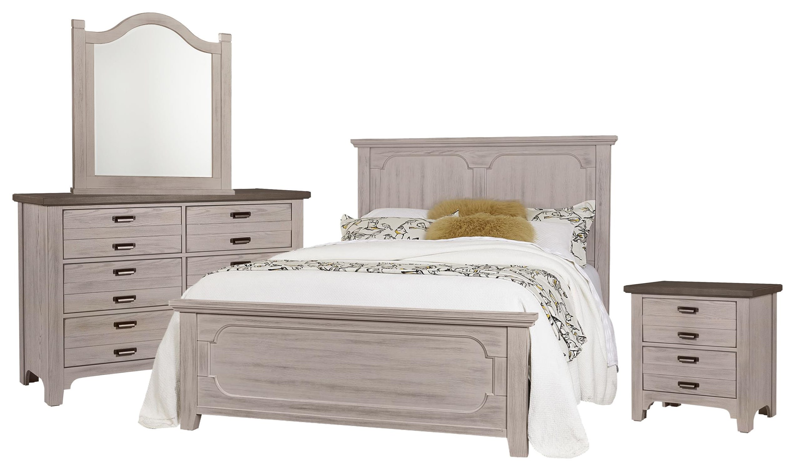 Bungalo Home Queen Panel, Dresser, Mirror, Nightstand by Vaughan Bassett at Johnny Janosik