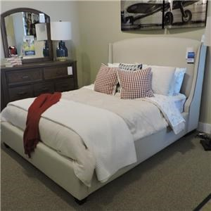 Queen Upholstered Bed, Dresser, Mirror and C