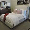 Vaughan Bassett Clearance Queen Upholstered Bed, Dresser, Mirror and C - Item Number: PKG551722