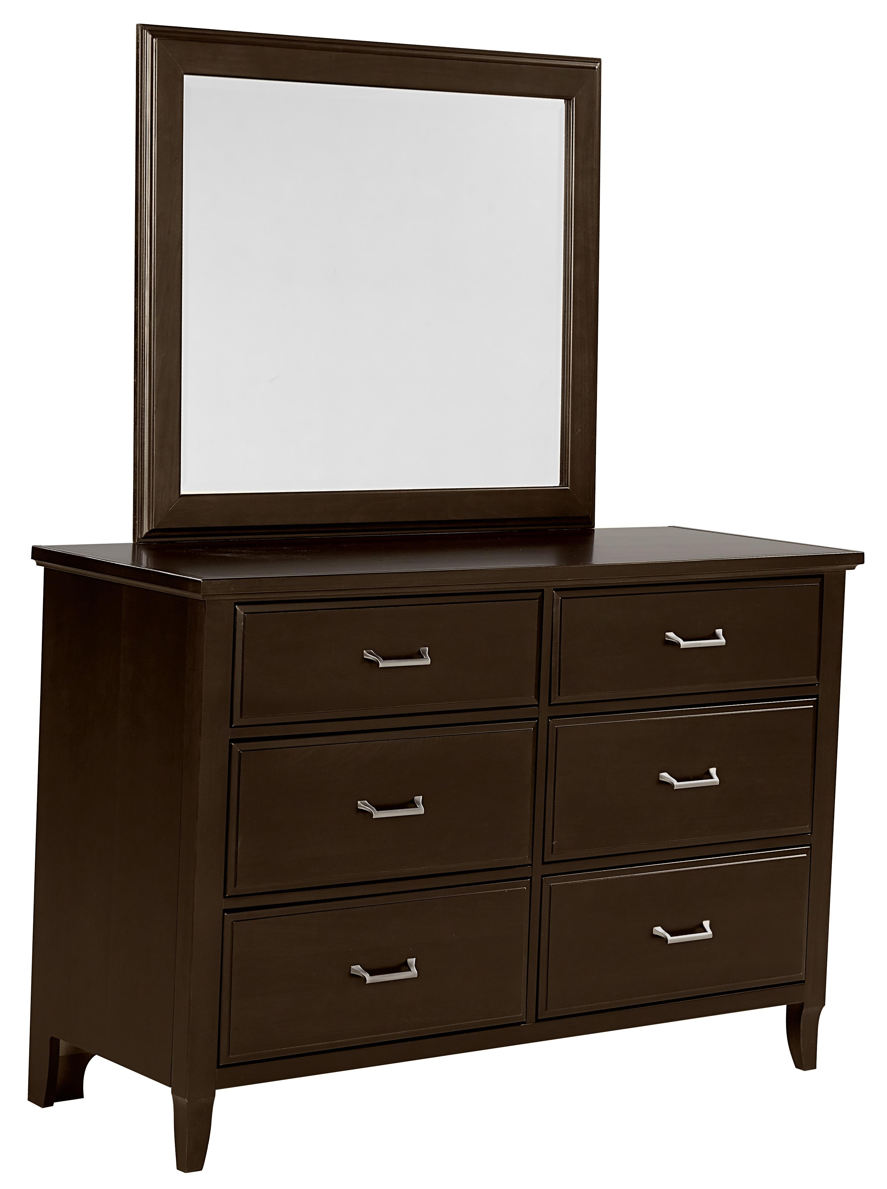 Vaughan Bassett Commentary Dresser - 6 drawers & Youth Landscape Mirror - Item Number: 390-001+442