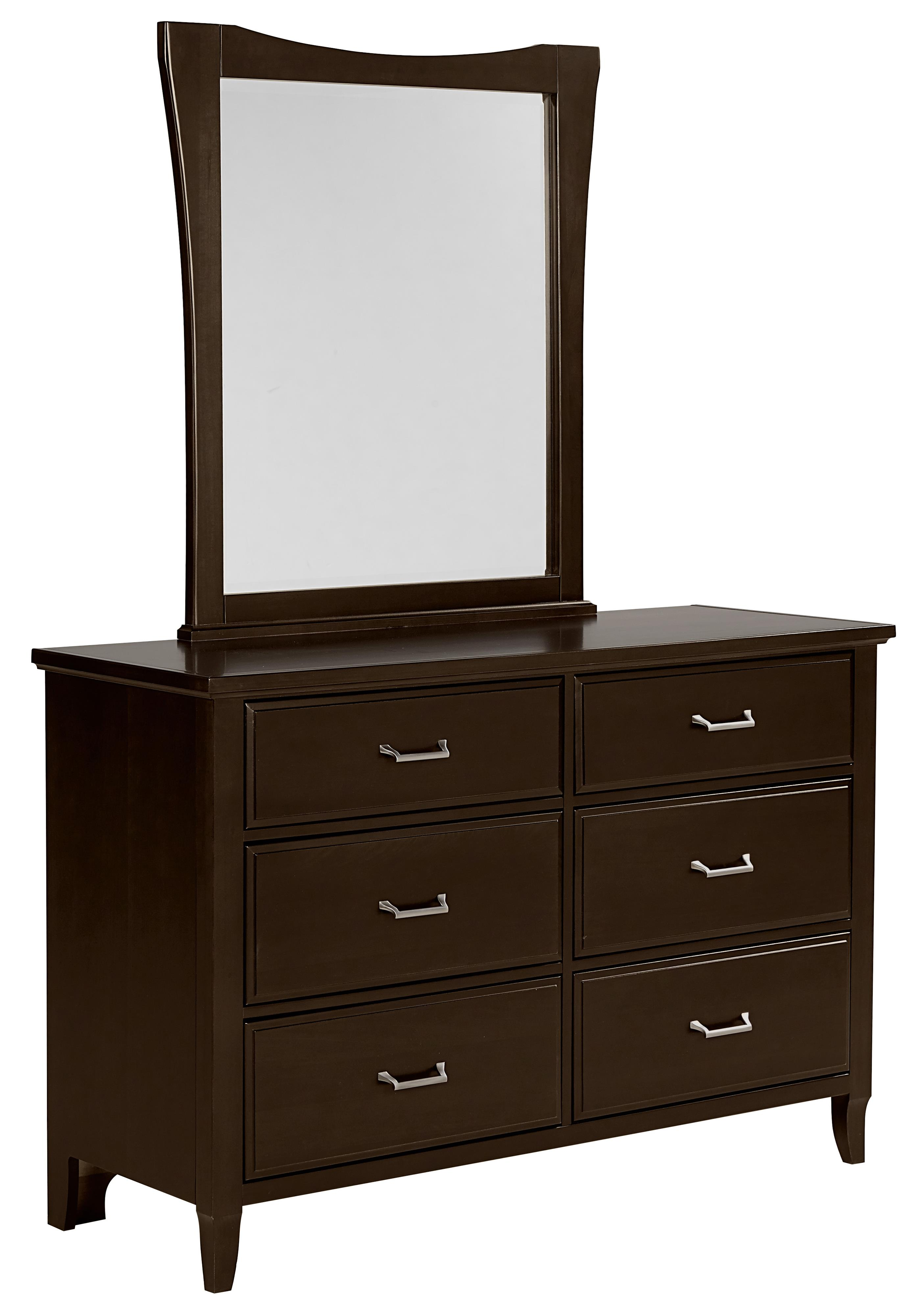 Vaughan Bassett Commentary Dresser - 6 drawers & Youth Wing Mirror - Item Number: 390-001+443